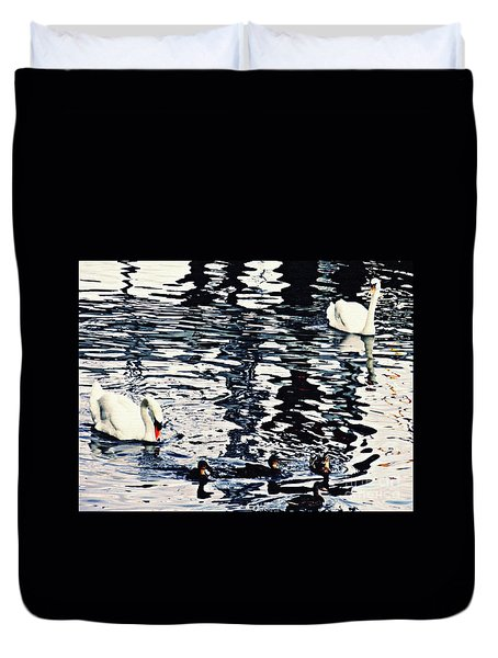 Duvet Cover featuring the photograph Swan Family On The Rhine by Sarah Loft