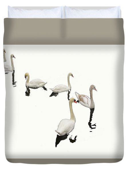 Duvet Cover featuring the photograph Swan Family On White by Constantine Gregory