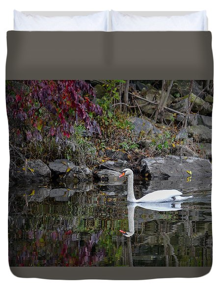 Swan In Autumn Reflections Duvet Cover