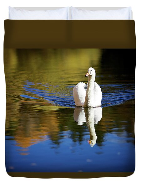 Swan In Color Duvet Cover