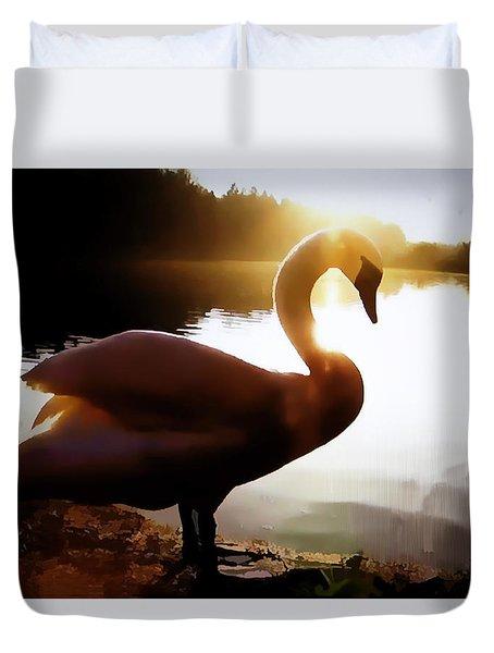 Swan In Evening Sun Duvet Cover