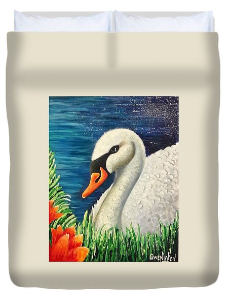 Swan In Pond Duvet Cover