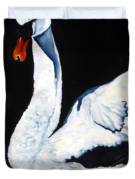 Swan In Shadows Duvet Cover by Lil Taylor