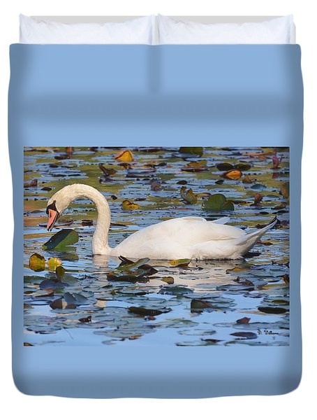 Swan In The Water Lilies Duvet Cover