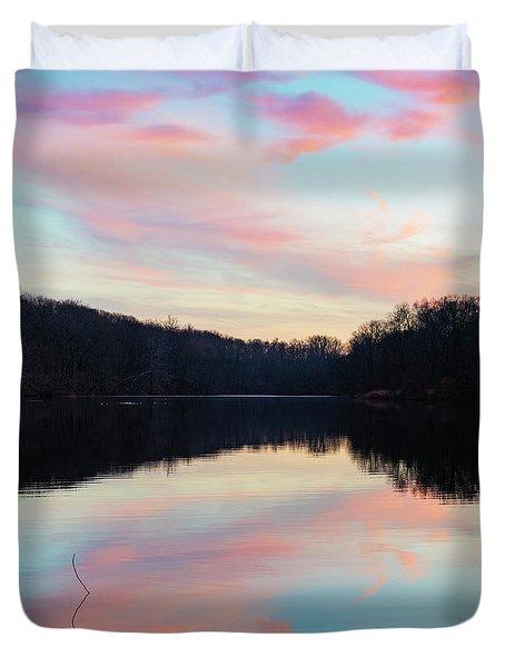 Swan Lake Sunset Duvet Cover