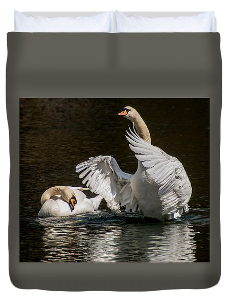 Duvet Cover featuring the photograph Swan Mating Dance by Cathy Donohoue