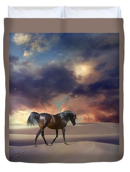 Duvet Cover featuring the digital art Swan Of Desert by Dorota Kudyba
