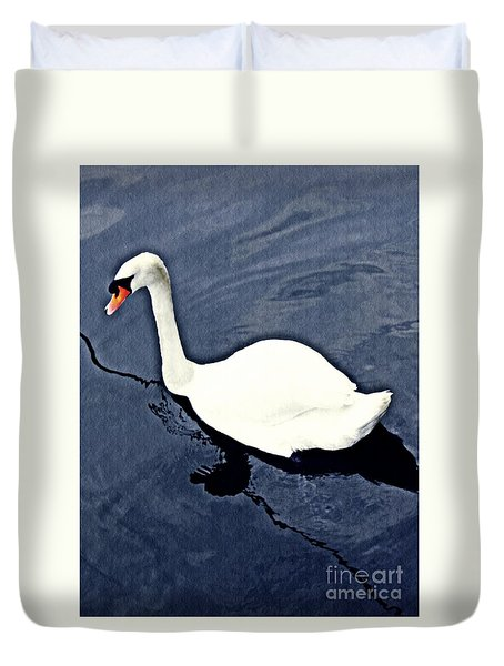 Duvet Cover featuring the photograph Swan On The Rhine by Sarah Loft