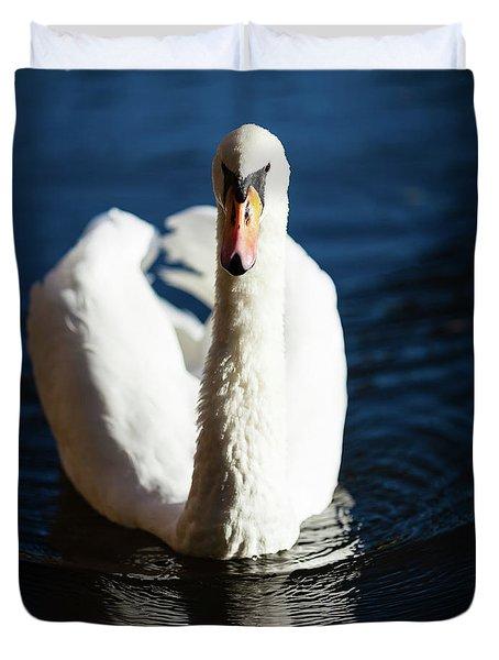 Swan Posing Duvet Cover by Teemu Tretjakov