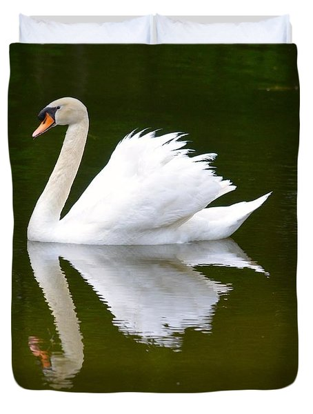 Swan Reflecting Duvet Cover