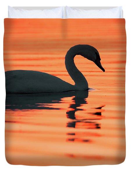 Swan Silhouette Duvet Cover by Roeselien Raimond