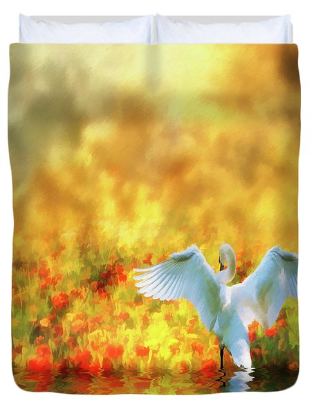 Swan Song At Sunset Thanks For The Good Day Lord Duvet Cover by Diane Schuster