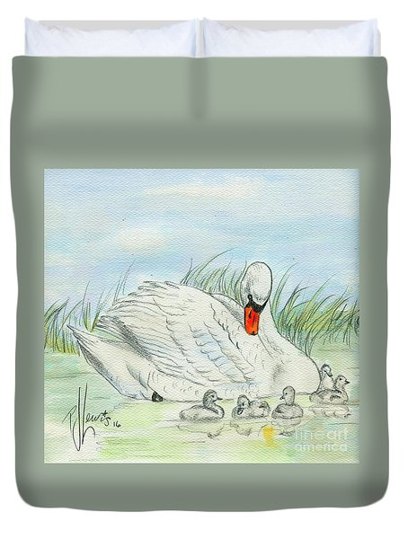 Swan Song Duvet Cover by P J Lewis