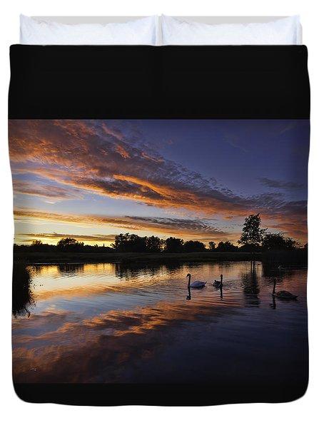 Swan Sunset Duvet Cover
