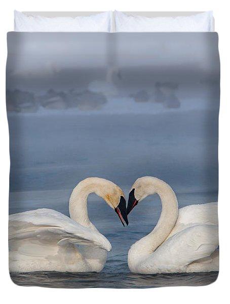 Swan Valentine - Blue Duvet Cover