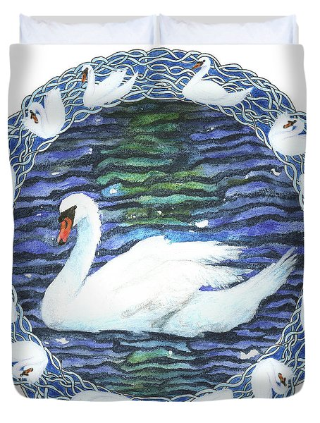 Swan With Knotted Border Duvet Cover