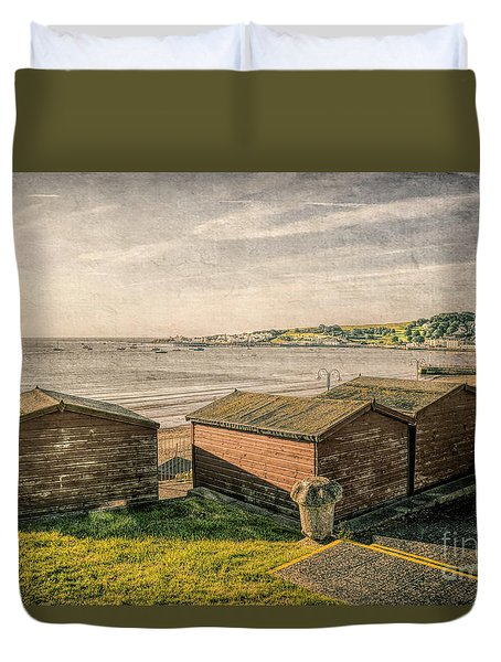 Swanage Beach Huts And The Bay Duvet Cover