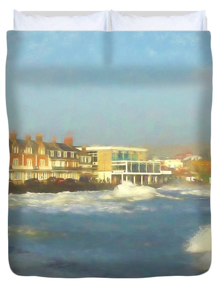 Swanage Harbour Winter Duvet Cover