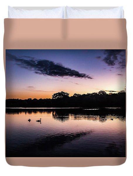 Swans At Sunrise Duvet Cover