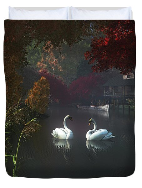 Swans In A River Near Home Duvet Cover