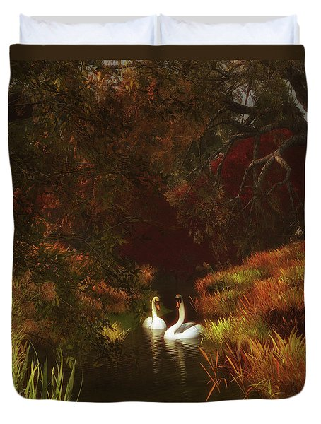 Swans In The Forest Duvet Cover