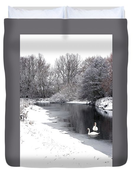 Swans In The Snow Duvet Cover by Gary Eason