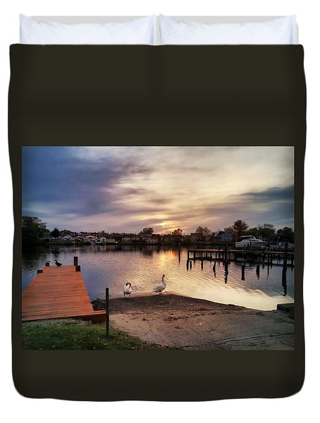 Swans Of Chink Creek Duvet Cover