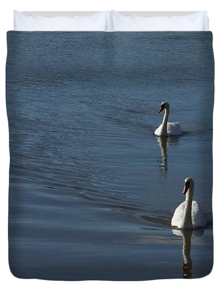 Swans On Blue Duvet Cover