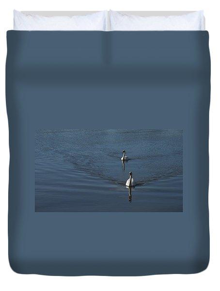 Swans On Deep Blue Duvet Cover