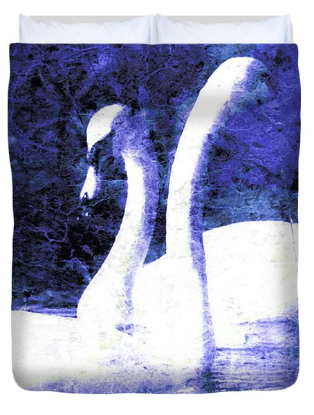 Duvet Cover featuring the digital art Swans On Water  by Fine Art By Andrew David