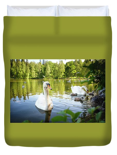 Swans With Chicks Duvet Cover