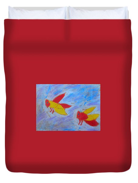 Duvet Cover featuring the painting Swarming Bees by Artists With Autism Inc