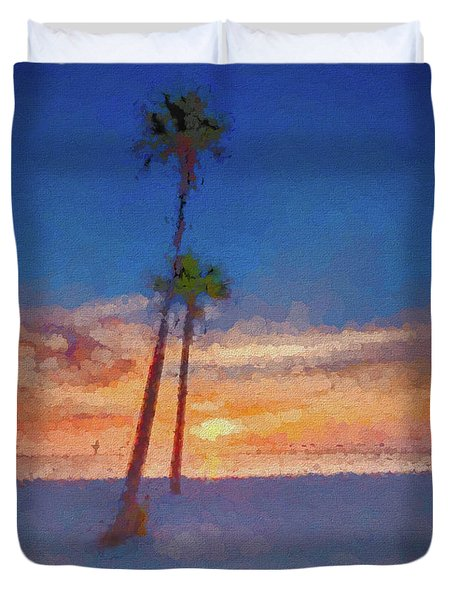 Duvet Cover featuring the photograph Swaying Palms by Marvin Spates