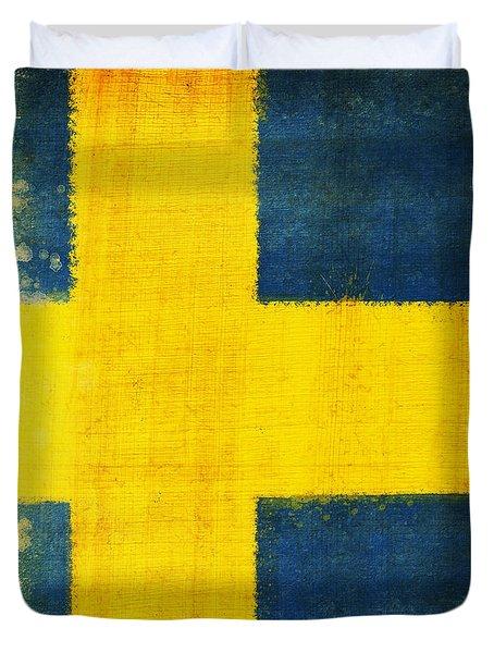 Swedish Flag Duvet Cover by Setsiri Silapasuwanchai