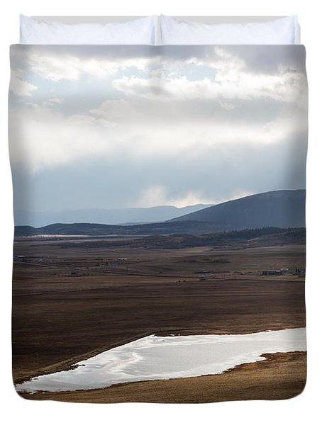 Duvet Cover featuring the photograph Sweeping Plain And A Small Lake Between Mountain Foothills Near Fairplay In Park County by Carol M Highsmith
