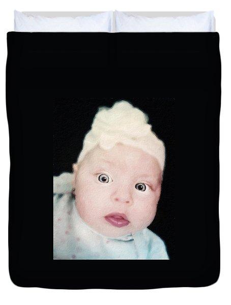 Sweet Baby Girl Portrait Duvet Cover