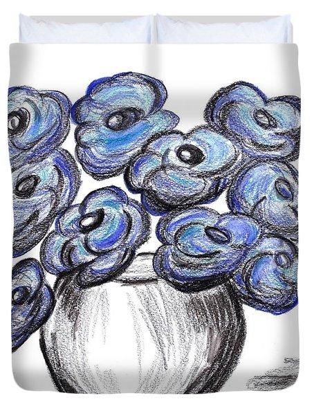 Sweet Blue Poppies Duvet Cover