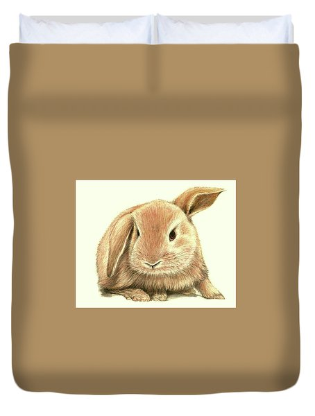 Duvet Cover featuring the drawing Sweet Bunny by Heidi Kriel