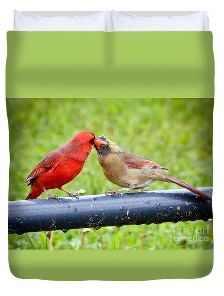 Sweet Cardinal Couple Duvet Cover by Kerri Farley