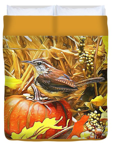 Sweet Carolina Wren Duvet Cover by Tina  LeCour