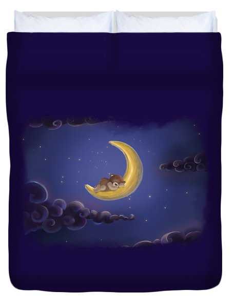 Duvet Cover featuring the drawing Sweet Dreams by Julia Art