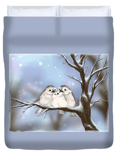 Duvet Cover featuring the painting Sweet Family by Veronica Minozzi