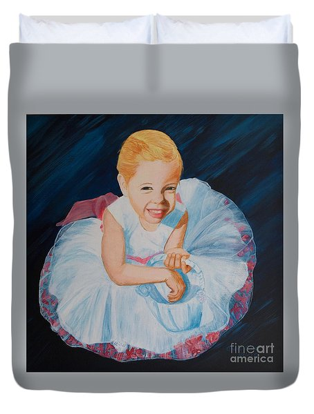 Sweet Flower Girl Duvet Cover