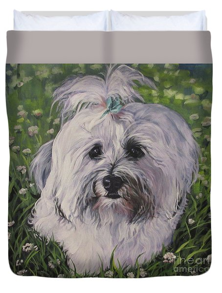 Duvet Cover featuring the painting Sweet Havanese Dog by Lee Ann Shepard