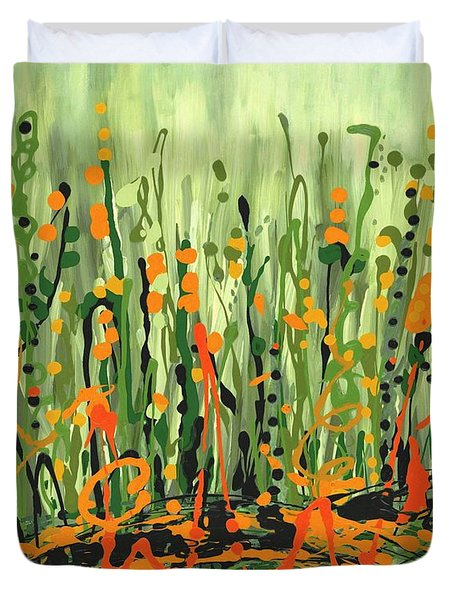 Duvet Cover featuring the painting Sweet Jammin' Peas by Holly Carmichael