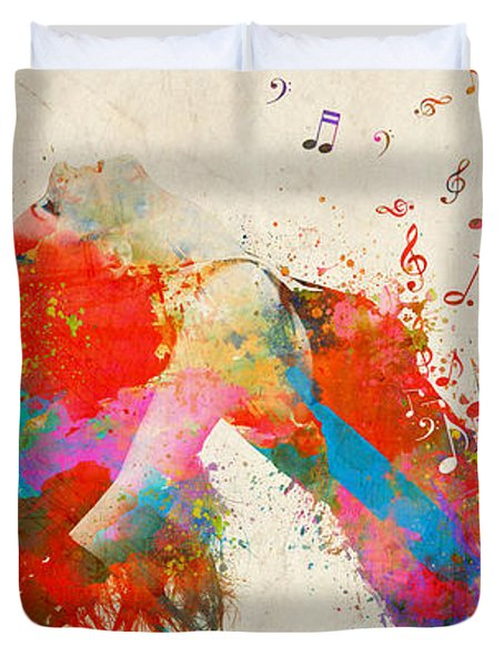 Duvet Cover featuring the digital art Sweet Jenny Bursting With Music Cropped by Nikki Marie Smith