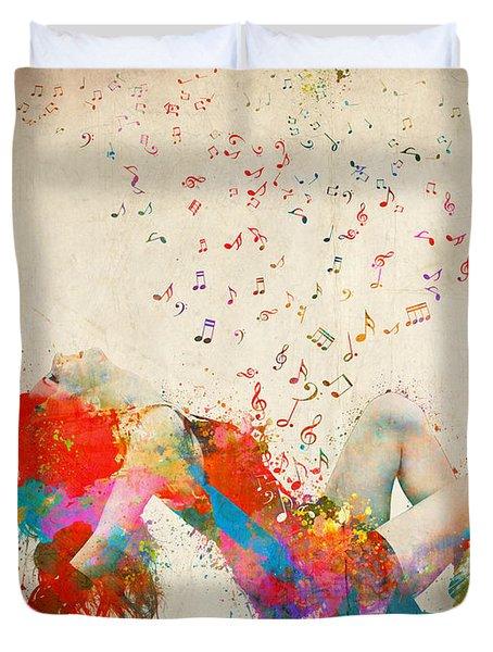 Sweet Jenny Bursting With Music Duvet Cover