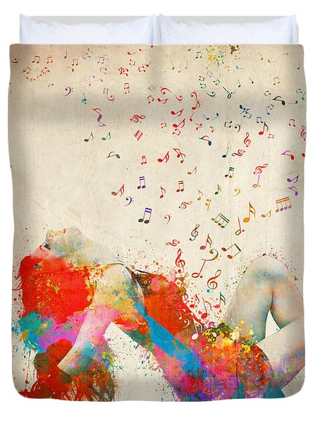 Sweet Jenny Bursting With Music Duvet Cover