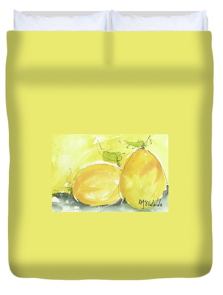 Sweet Lemon Watercolor Painting By Kmcelwaine Duvet Cover