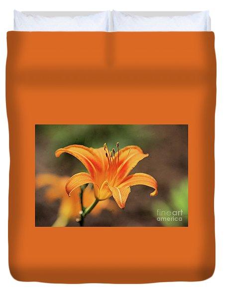 Sweet Lilly In Orange Duvet Cover